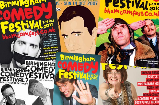 A selection of previous Birmingham Comedy Festival brochure covers